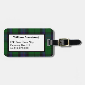 Colorful Armstrong Tartan Plaid Luggage Tag