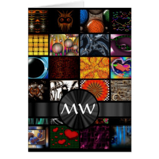 Colorful art collage abstract greeting card