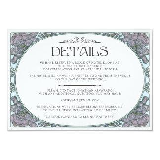 Colorful Art Nouveau Wedding Details Card (Set #1)