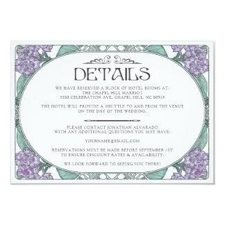 Colorful Art Nouveau Wedding Details Card (Set #6)