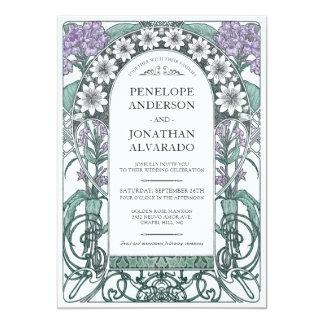 Colorful Art Nouveau Wedding Invitations (Set #6)