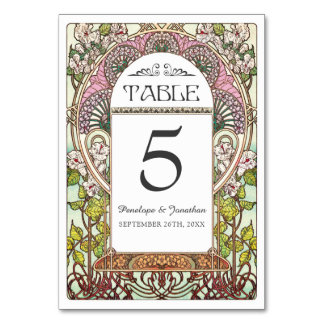 Colorful Art Nouveau Wedding Table Cards (Set #9)