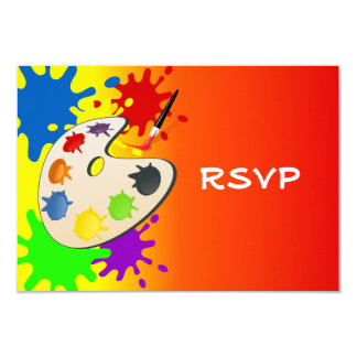 Colorful Art Palate Party 9 Cm X 13 Cm Invitation Card