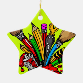 Colorful Art Supplies Christmas Ornament