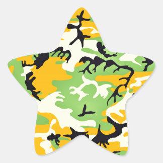 Colorful artistic camouflage design star sticker