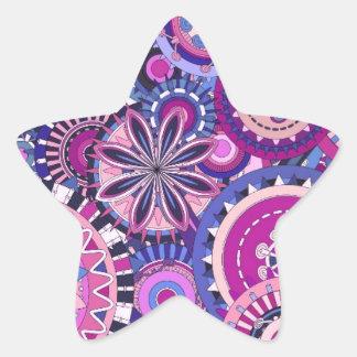 Colorful artistic ornaments design star sticker