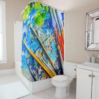 Colorful Artistic Palette And Brushes unique funny Shower Curtain
