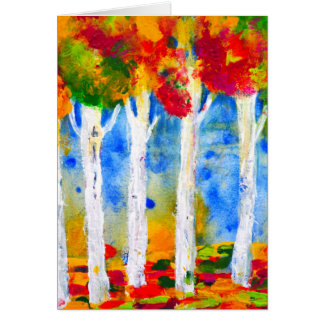 Colorful Aspen Trees Painting Card
