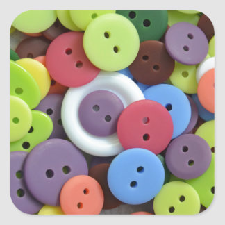 Colorful assorted buttons square sticker
