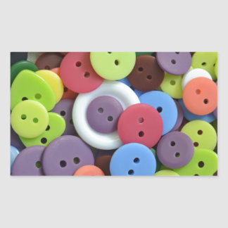 Colorful assorted buttons rectangular stickers