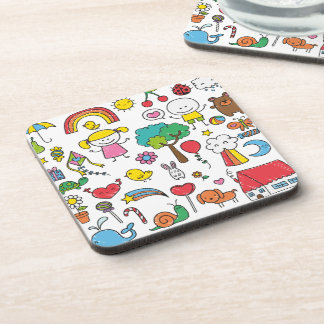 Colorful Assorted Children's Drawing | Coaster