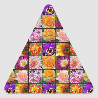 Colorful assorted flower collage print triangle sticker