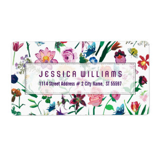 Colorful Assorted Flowers Pattern Shipping Label