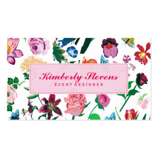 Colorful Assorted Flowers White Background 2 Pack Of Standard Business Cards