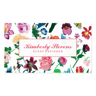 Colorful Assorted Flowers White Background 3 Pack Of Standard Business Cards