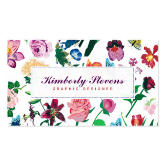 Colorful Assorted Flowers White Background Pack Of Standard Business Cards