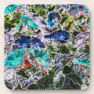 Colorful Asters Flowers - Glowing Edges Filter Beverage Coasters