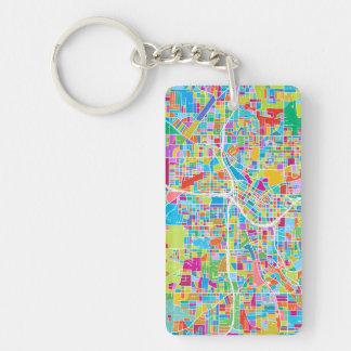Colorful Atlanta Map Key Ring