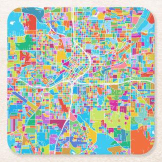 Colorful Atlanta Map Square Paper Coaster