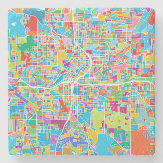 Colorful Atlanta Map Stone Coaster