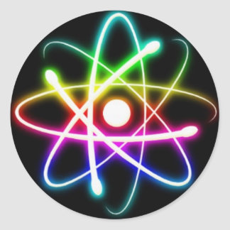 Colorful Atoms Round Stickers