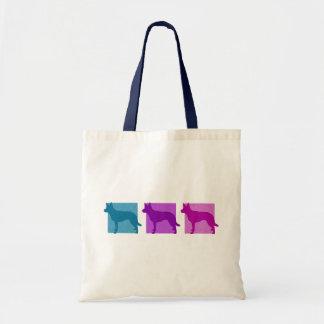 Colorful Australian Kelpie Silhouettes Canvas Bags