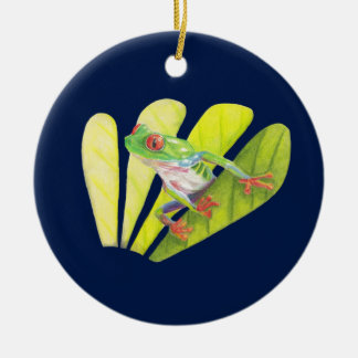 Colorful Australian Tree Frog Round Ceramic Decoration