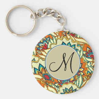 Colorful Autumn Floral Pattern Monogrammed Basic Round Button Key Ring