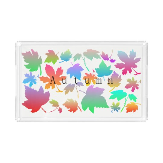 Colorful autumn leaves acrylic tray