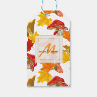 Colorful Autumn Leaves and Mushrooms Monogram Gift Tags