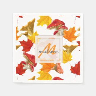 Colorful Autumn Leaves and Mushrooms Monogram Paper Serviettes