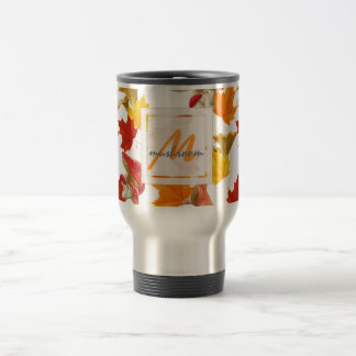 Colorful Autumn Leaves and Mushrooms Monogram Travel Mug