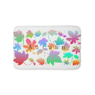 Colorful autumn leaves bath mat