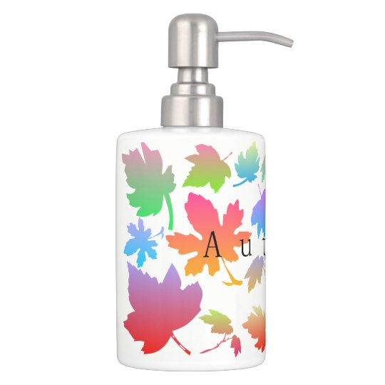 Colorful autumn leaves bathroom set