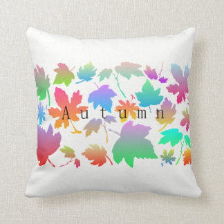 Colorful autumn leaves cushion