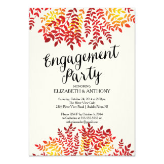 Colorful Autumn Leaves Engagement Party Invitation
