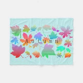 Colorful autumn leaves fleece blanket
