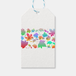 Colorful autumn leaves gift tags