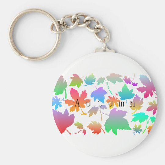Colorful autumn leaves key ring