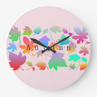 Colorful autumn leaves large clock