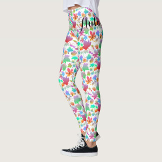 Colorful autumn leaves leggings