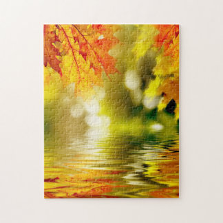 Colorful autumn leaves reflecting in the water 2 jigsaw puzzle