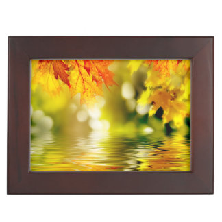 Colorful autumn leaves reflecting in the water 2 keepsake box