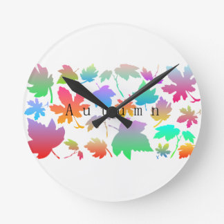 Colorful autumn leaves round clock