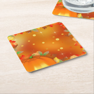 Colorful Autumn Leaves Thanksgiving Paper Coaster