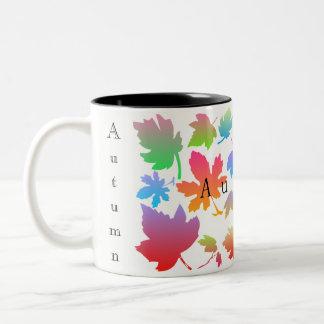 Colorful autumn leaves Two-Tone coffee mug