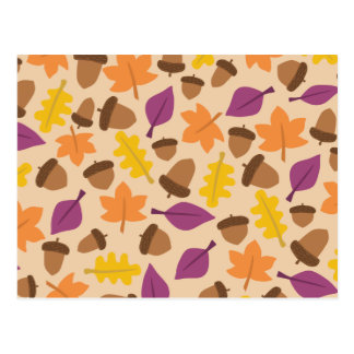 Colorful autumn pattern postcard