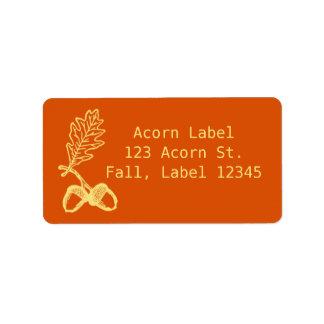 Colorful Autumn Retro Fall Orange Acorn Address Label