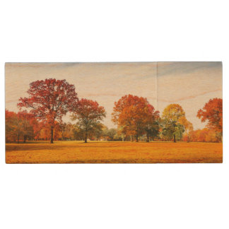 Colorful Autumn Trees Landscape Fall Season Wood USB 2.0 Flash Drive