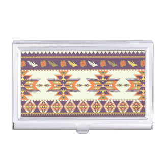 Colorful aztec pattern business card holder